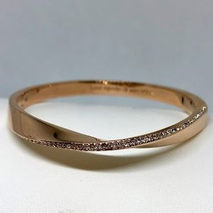 "Kate Spade ""Do the Twist"" Rose Gold Pave Bangle"
